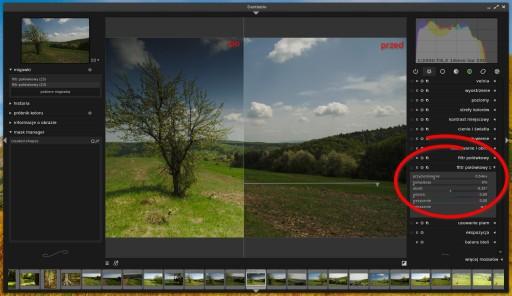 Dwie instancje filtra połówkowego - jeden rozjaśnia dół zdjęcia, drugi przyciemnia górę