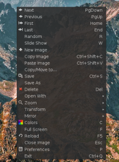 Phototonic - menu