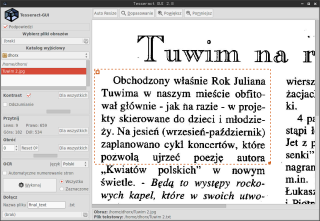 Tesseract GUI na Linuksie